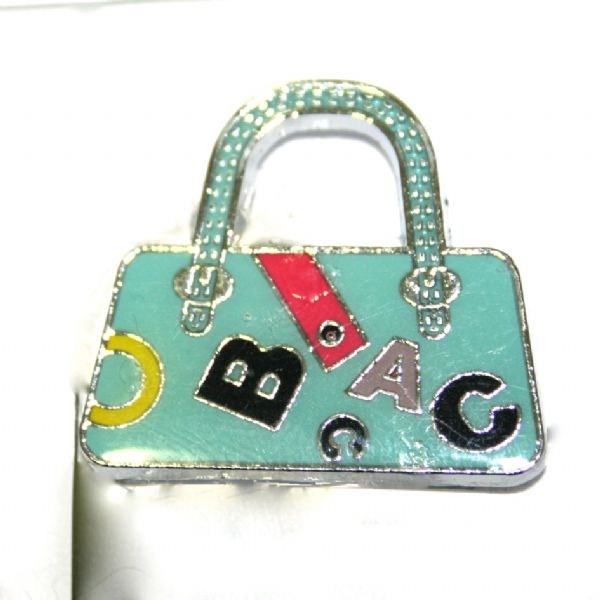 1pce x 24*22mm rhodium plated spearmint handbag with letters enamel charm - SD03 - CHE1131